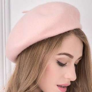 Light Pink Wool Beret - Sweet and elegant and can match lolita style - worn once