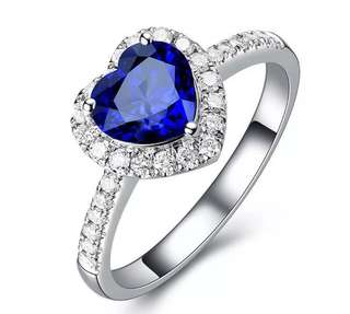 Blue Heart Sapphire Engagement / Wedding Ring
