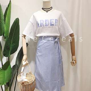 TC2314 Korea 2 Pieces Top + Checker Ribbon Skirt (Pink,Blue,Black)