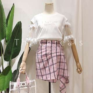 TC2315 Korea 2 Pieces Lace Top + Checker Designer Skirt (set)