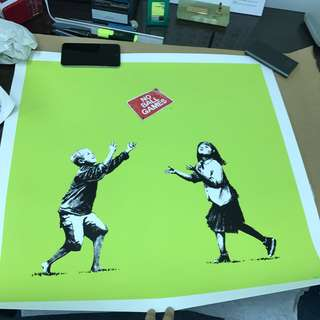 Banksy signed art print No Ball Game with COA 余文樂