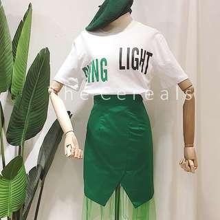 TC2317 Korea 2 Pieces Top + High Waist Skirt (Green,Yellow,Black)