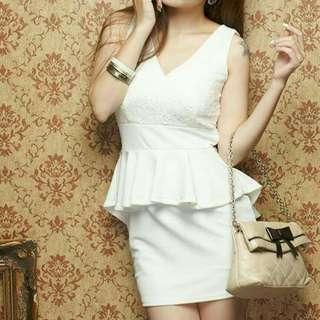 White Korean Chic Lace Peplum Dress