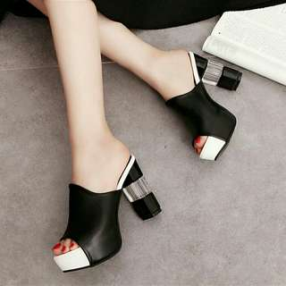 Black Elegant High Heels Wild Thick Bottom Platform Shoes
