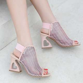 Size 35-40 Peep Toes Hollow Gladiators Hearts Chunky High Heels
