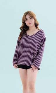 Pink purple patterned V-neck Knit Pullover