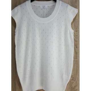 Udb 唯美鏤空織法 高質感小蓋袖針織衫~全新商品