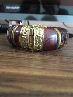 Wood Bangle fashion Jewellery with Gold trimmings.