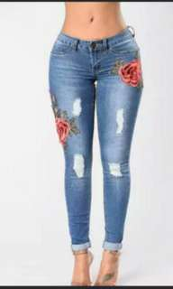 Women Ripped Jean Pants Flower Embroidered High Waist Slim Pencil Trousers