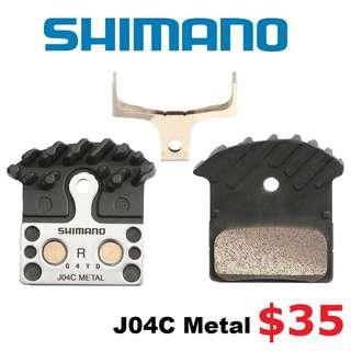 Shimano Brake Pad J04C Metal For XTR, XT, SLX, Deore -------- (XTR M9020 XT M8020 M8000 M785 SLX M7000 M675 M315 MT2 MT4 MT5 MT5E MT6 MT7 MT8 Trail) Dyu