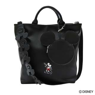 Japan Disney Accommode Mickey Mouse 90th Anniversary Black 2 Way Tote Bag
