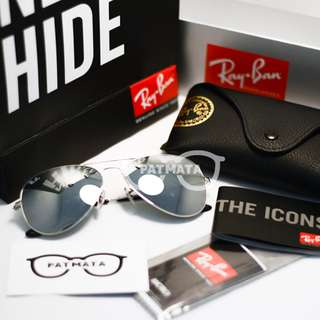 Authentic Ray Ban Aviator Frame Silver Lens Silver Mirror