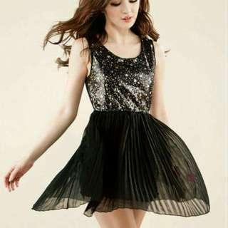 Korean Shimmering Black Elegant Dress