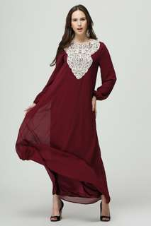 Lace Embellished Muslimah Dress 098294 FM