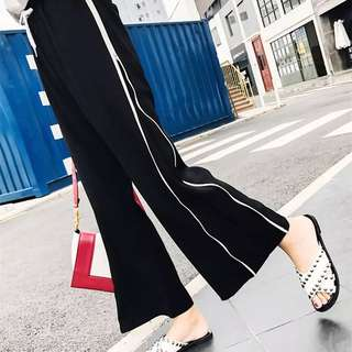 (S~XL) Spring side zipper white side slit sports wide leg pants female high waist nine points loose casual pants