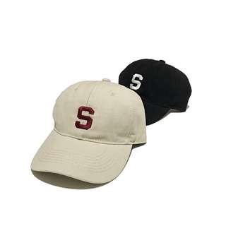 🚚 復古美式新款簡約S字母軟頂鴨舌帽歐美潮男情侶棒球帽嘻哈帽