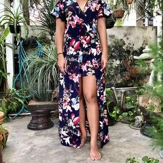 Navy blue v-neck/ plunge floral maxi high low dress