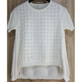 日本品牌keitamaruyama 蕾絲拼接短袖針織上衣~全新商品