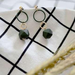 Hex Geometric Drop - Pine Green