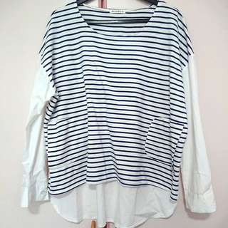 Free Size Blue Stripe & Plain Top