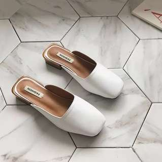 Minimalist pu leather slip on shoes (white shoes/black shoes)
