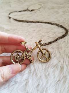 """Vintage Solid Bronze Bicycle Necklace w 26"""" Chain"""