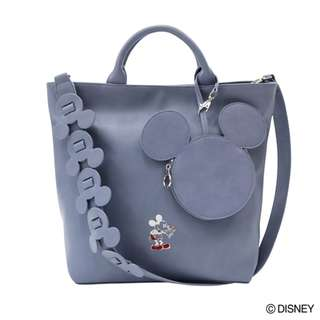 Japan Disney Accommode Mickey Mouse 90th Anniversary Blue 2 Way Tote Bag