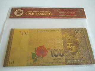 Malaysian Ringgit 100 Pure Gold Plated RM Banknote