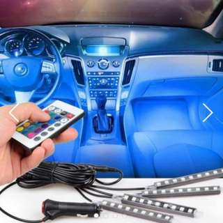 [Remote] 9 LED 4 strip remote controlled car interior LED decorative Easy Install