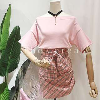 TC2320 Korea 2 Pieces Shoulder Off Top + Checker Ribbon Skirt (Pink,Blue,Yellow)