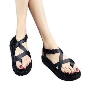 2018夏季新款羅馬風格夾趾涼鞋女韓版平跟厚底夾腳沙灘鞋學生鞋