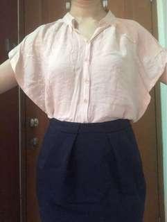 Light pink batwing blouse