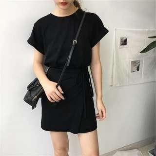 夏季韓國chic套頭不規則拼接系帶中裙氣質短袖t恤連衣裙女