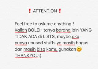 ATTENTION (FEEL FREE TO ASK)