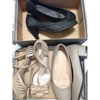 3 for $10. 1 for $5 = Buy 2 get 1 free 😊  Valentino Ruby Leather Size 37 👠 heels. Kiyo low heel size 36  Free Charles & Keith heels size 6.  All for non fussy ya 😂