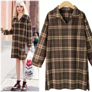 (XL~5XL) European lapel long-sleeved plaid dress loose was thin slit skirt