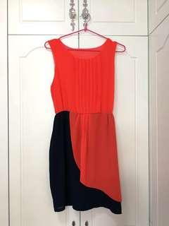 OL橙紅色連衣裙 腰部有彈性
