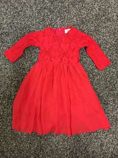 Baby Girl Red Dress Baju Raya