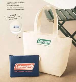 Coleman x nano.universe特大白色托特包 手袋 側揹袋 & 深藍色收納袋