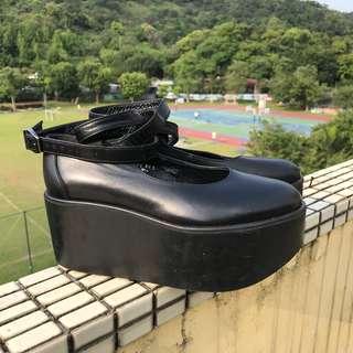🚚 日本Belly Button 綁帶厚底鞋  黑色牛皮 鞋碼22.5 適合23-23.5 二手 Tokyo Bopper