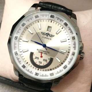 全自動銀鋼機械陀飛輪真皮手錶 Automatic Silver Steel Mechanical Tourbillon Genuine Leather Watch