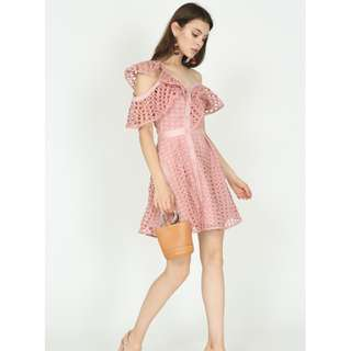MDSCOLLECTIONS Ruffled Toga Dress in Pink