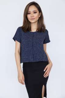 💗RS Tweed Pleat Front Blouse