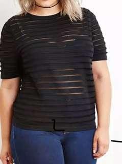 Stripe Sheer/mesch Top