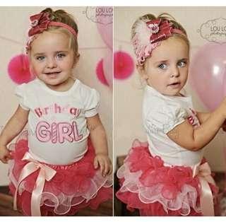 Baby Girl Birthday Girl Suit Set Shirt Skirt Pink Party Ribbon Tutu Kids Children Toddler