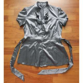 Guess Grey Satiny Blouse with Ribbon Belt