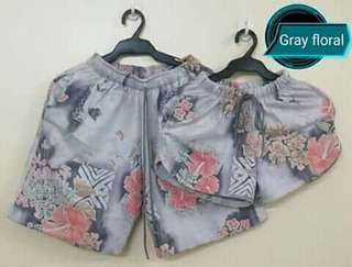 Floral gray couple shorts