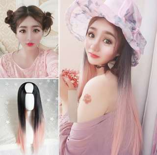 U-shaped half head light pink long straight wig Hair extensions