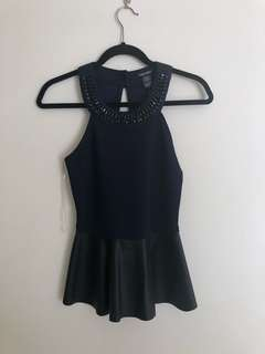 Navy and leather peplum top