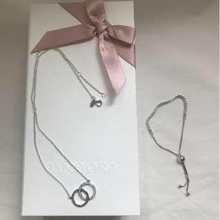 【不議價】全新! Pandora cubic zirconia silver bracelet & 925 silver circles necklace 禮盒庄